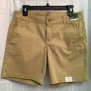 New Tan Twill Stretch Button Up Shorts